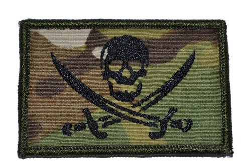 Pirate Jolly Roger 2x3 Morale Patch - Multicam