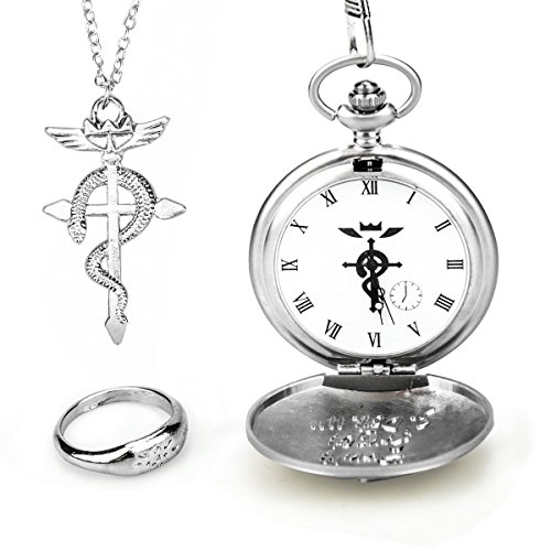 Anime Metal Necklace - Topwell Full Metal Alchemist Pocket Watch Necklace Ring Edward Elric Anime Cosplay Gift