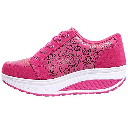 5b469d53568c ... Solshine Damen Fashion Plateau Schnürer Sneakers mit Keilabsatz  WALKMAXX Schuhe Fitnessschuhe Pink 3 ...