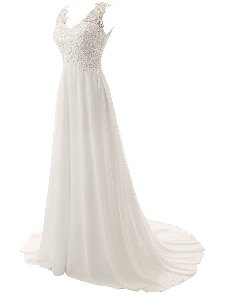 Amazon.com: JAEDEN Elegant V-neck A-line Lace Chiffon Long Beach Wedding Dress Ivory US18W: Clothing
