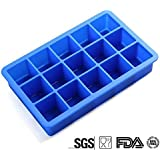 Mdairc 15 cubes FDA Silicone Ice cube tray, BPA free, Durable and not temerature sensitive (Blue)
