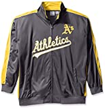 MLB Oakland Athletics Men's Team Reflective Tricot Track Jacket, 3X, Charcoal/Gold