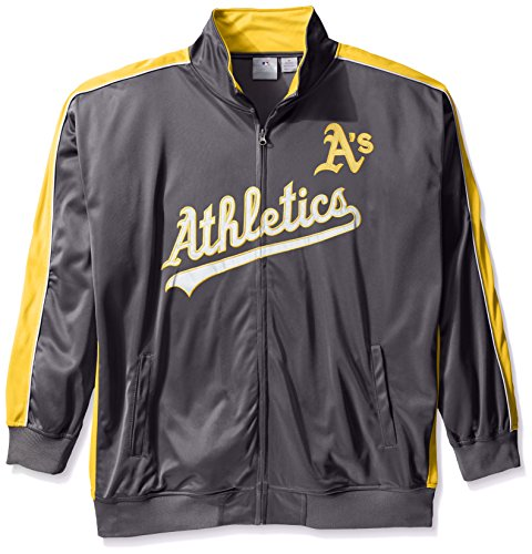 Oakland Athletics Track Jacket - Profile Big & Tall MLB Oakland Athletics Men's Team Reflective Tricot Track Jacket, 3X, Charcoal/Gold