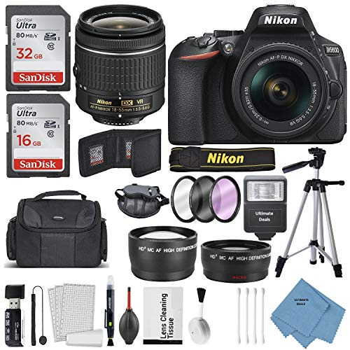 Nikon D5600 DSLR Camera and 18-55mm Lens Kit W/Total of 48 GB Memory Card + Telephoto & Wideangle Lens + Ultimate Lens Handling Accessories + Bundle