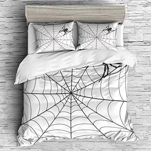 3 Pieces (1 Duvet Cover 2 Pillow Shams)/All Seasons/Home Comforter Bedding Sets Duvet Cover Sets for Adult Kids/Double/Spider Web,Gothic Fairytale Elements Creepy Scary Dangerous Spider Sticky Catch,C ()