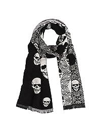 Landisun Men's Soft Elegant Classical Tassels Scarf Shawl Skull (Black White)