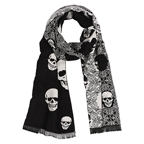 Landisun Skull Scarf Shawl Soft Long Elegant Classical Tassels (Black White)]()