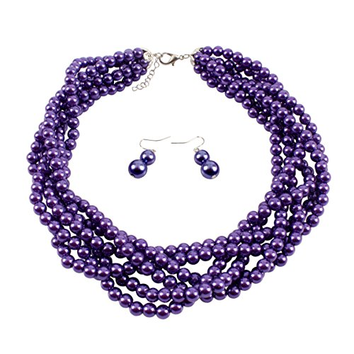 KOSMOS-LI Simulate Purple Pearl Costume Jewelry Statement Earrings and Necklace Set … Purple Necklace Earrings