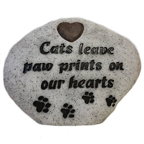 Vivid Arts Leaves Paw Prints Gedenkstein für Katzen, Granitgrau