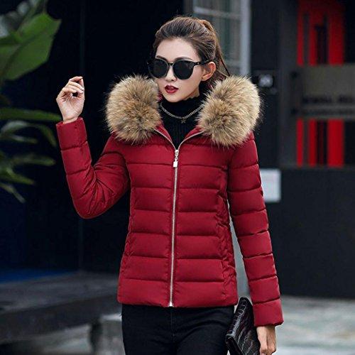 Invierno con Culater Grueso Moda Abrigos Rojo vino Mujer Chaqueta Capucha Outwear Ix8fxRPqw