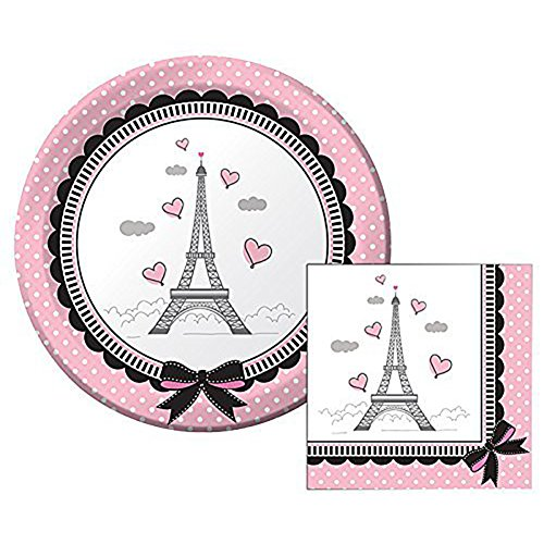 Party in Paris Themed Dessert Napkins & Plates Party Kit for 8