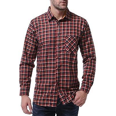 TS,RD.UG Mens Plaid Shirts Long Sleeve Casual Checkered Button Down Dress Shirt