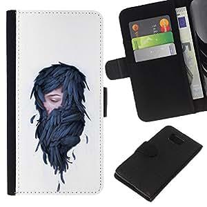 YiPhone /// Tirón de la caja Cartera de cuero con ranuras para tarjetas - Mujer en plumas - Pop Art - Samsung ALPHA G850