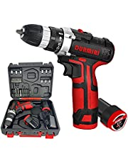 12 Volt hammer drill with extra battery, quick base charger and accessories