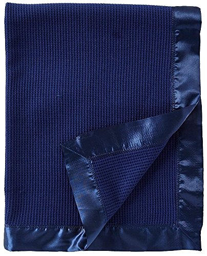 Thermal Waffle Weave Baby Blanket with Satin Nylon Trim (Navy)