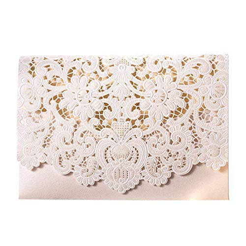 WISHMADE 20pcs Ivory Laser Cut Wedding Invitations with Embossed Floral Cardstock for Engagement Invites with Envelope & Seal (Pack of 20pcs)