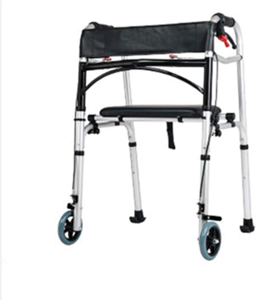 ヘルスケア折りたたみ軽量アルミニウムウォーキングフレームを駆動しますパッド入りシート付き/ロック可能なブレーキ/2つの車輪を持つ歩行器 -調節可能な高さ
