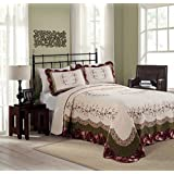 MODERN HEIRLOOM Collection Brooke Cotton Filled Bedspread, King, 120 by 118-Inch, Tan