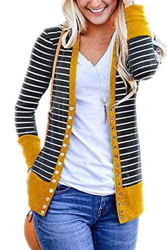 Symptor Women Plus Size Solid Button Front Knitwears Long Sleeve Casual Cardigans Yellow XL ()