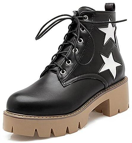 Summerwhisper Women's Trendy Stars Lace up Round Toe Short Martin Boots Block Medium Heel Platform Ankle Booties Black 9 B(M) US