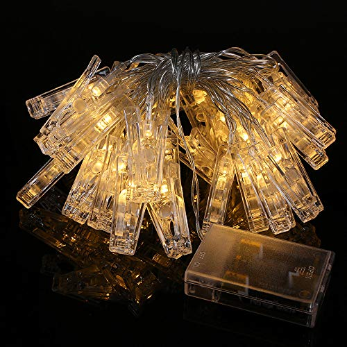 Decdeal Photo Clip String Light 40 LED Photo Hanging Clips String Lamp Battery Powered 5M//16.4FT Fairy Lights with Clips for Pictures Christmas Tree Bedroom Wedding Party