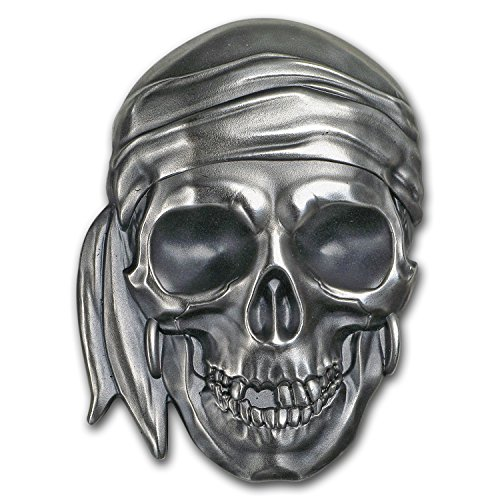 (2017 DE Palau 1 oz Silver Antique Finish Pirate Skull 1 OZ Brilliant Uncirculated)