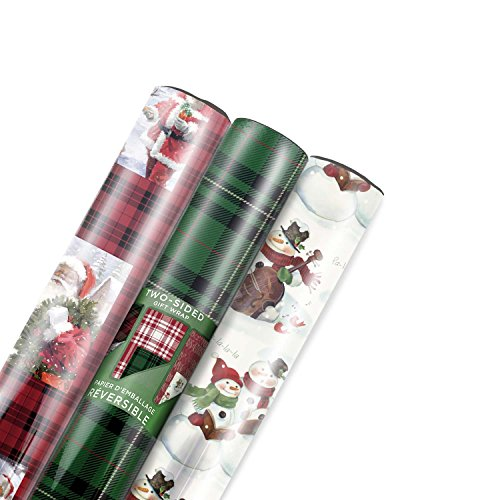 Hallmark Holiday Reversible Wrapping Paper (Multicolored, 3 Pack)