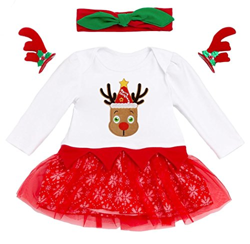 Coralup Baby Girl Christmas Romper Set Dress+Headband+Antlers Hairpin (Rudolph,6-12M) (Rudolph Antlers)