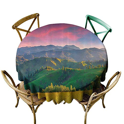 Tablecloth for Kids/Childrens Nature Landscape Decor Collection Summer Sunrise in the Mountains with Rolling Hills and Valleys in Morning Light Deco High-end Durable Creative Home 60 INCH -