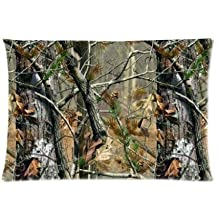 Real Tree Lesves Camouflage Camo Pillowcase Zippered Pillow Case 20x30 Standard Size(Twin sides)