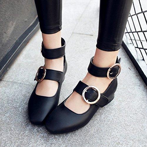 COOLCEPT Mujer Moda Mary Jane Tacon Bajo Zapatos Vintage Al Tobillo Zapatos Negro