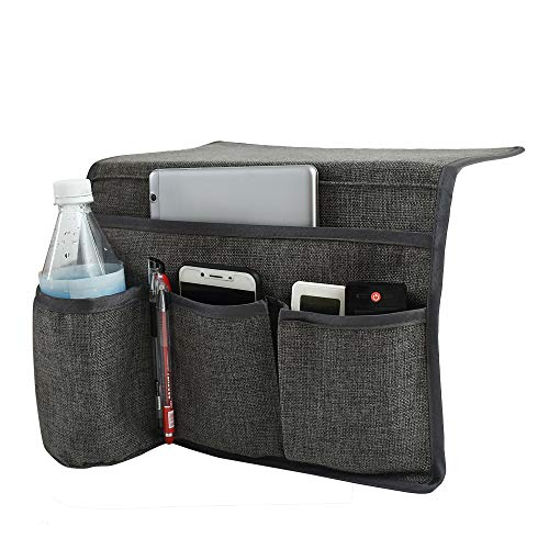 Joywell Bedside Storage Organizer Caddy with 4 Pockets for TV Remotes,Water Bottle,Magazine,Books,Cell Phone,Glasses,iPad(Gray)