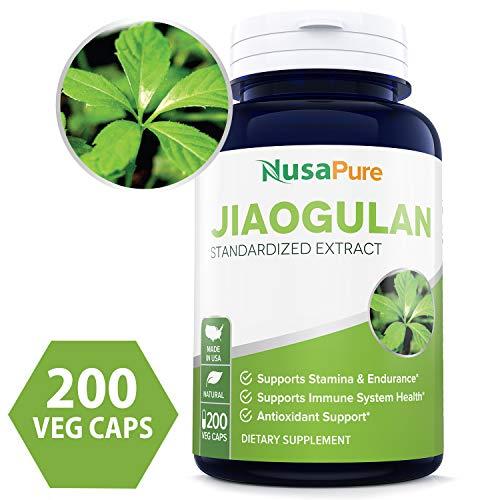 Best Jiaogulan 4100mg Per Caps 200 Veggie Capsule (Extract 10:1, NON-GMO & Gluten Free) Gynostemma Pentaphyllum AMPK Activator, Caffeine-Free Adaptogen Pills, Ginseng Root Powder Extract - Made in USA