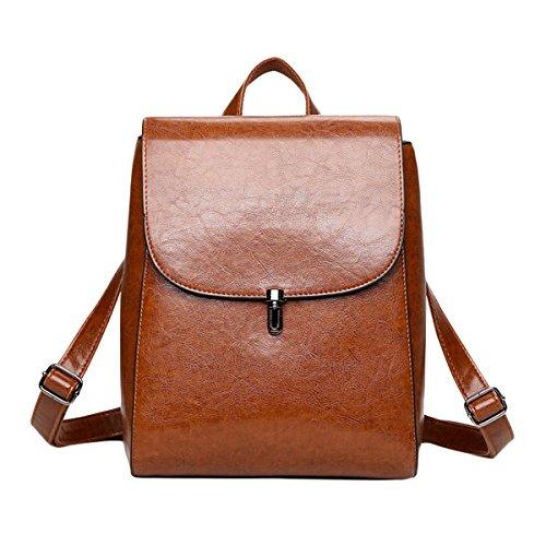 - ABage Women's PU Leather Travel College Student Backpack Purse Handbag Bookbag School Bag, Brown