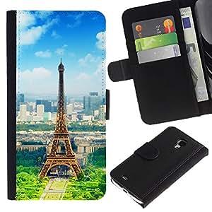 Lead-Star (Paris Eiffel Tower) Colorida Impresión Funda Cuero Monedero Caja Bolsa Cubierta Caja Piel Card Slots Para Samsung Galaxy S4 Mini i9190 / i9195 (Not For S4)