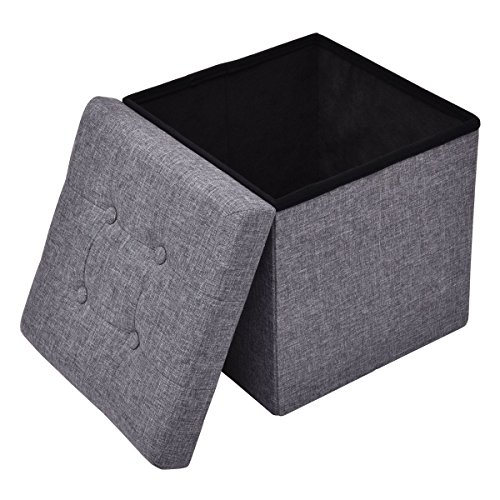 GHP 220-Lbs Capacity Gray Oxford & MDF Board 15'' Cube Storage Ottoman Bench Seat by Globe House Products