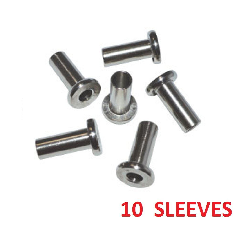 ArkHardware Protective protector Sleeve for 1/8'' 5/32'' 3/16'' Cable Railing Rigging Hardware Deck Stairs Post Stainless Steel Type 316 Marine Grade (10 PIECES)