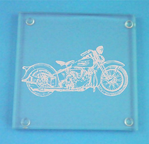 Set of 4 Glass Coasters With Harley Davidson Design Presented In Gift - Harley Davidson Novelty Box