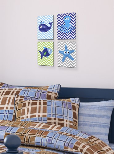 The Kids Room By Stupell Sea Creatures With Chevron Background 4-Pc Rectangle Wall Plaque Set Proudly Made in USA brp-1511 quad
