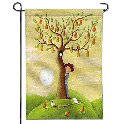 Leighhome Welcome Garden Flag Acrylic illustration of Boy an