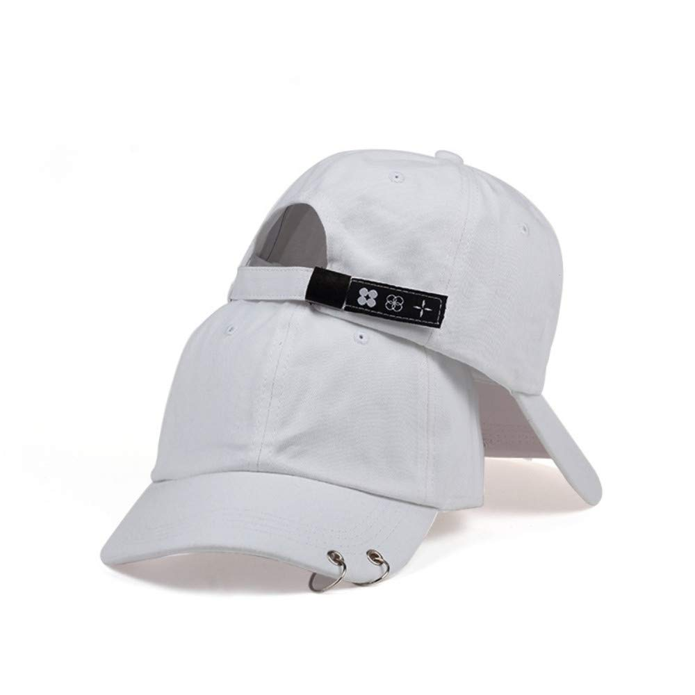 Chlally 2019 Iron Ring Hats Adjustable Baseball Cap 100% Handmade Ring,White