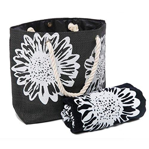 Beach Bag for Women 46 x 33 CMS PLUS Beach Towel Set Summer Tote Bags 100% Cotton Towels75 x150 cms Floral Patter BLACK TOWEL+BAG