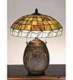 Tiffany Style Stained Glass Pine Needle Light Table Lamp