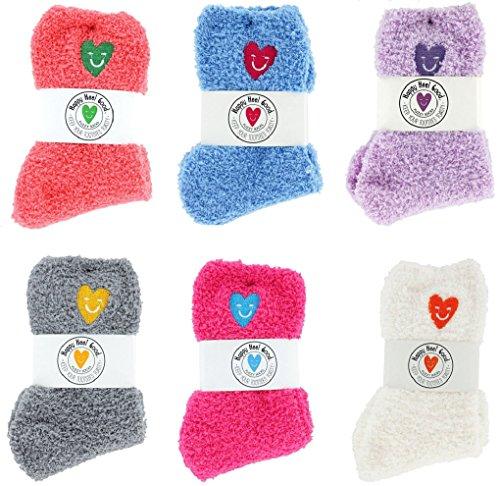Happy Heel Good Fuzzy Socks, Set of 6 Assorted Colors