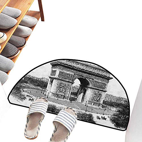 Axbkl Semicircular Door mat Vintage Old Photo of Auguste Vitu Monument in Paris French Heritage Retro Picture Anti-Fading W24 xL16 Black and White ()
