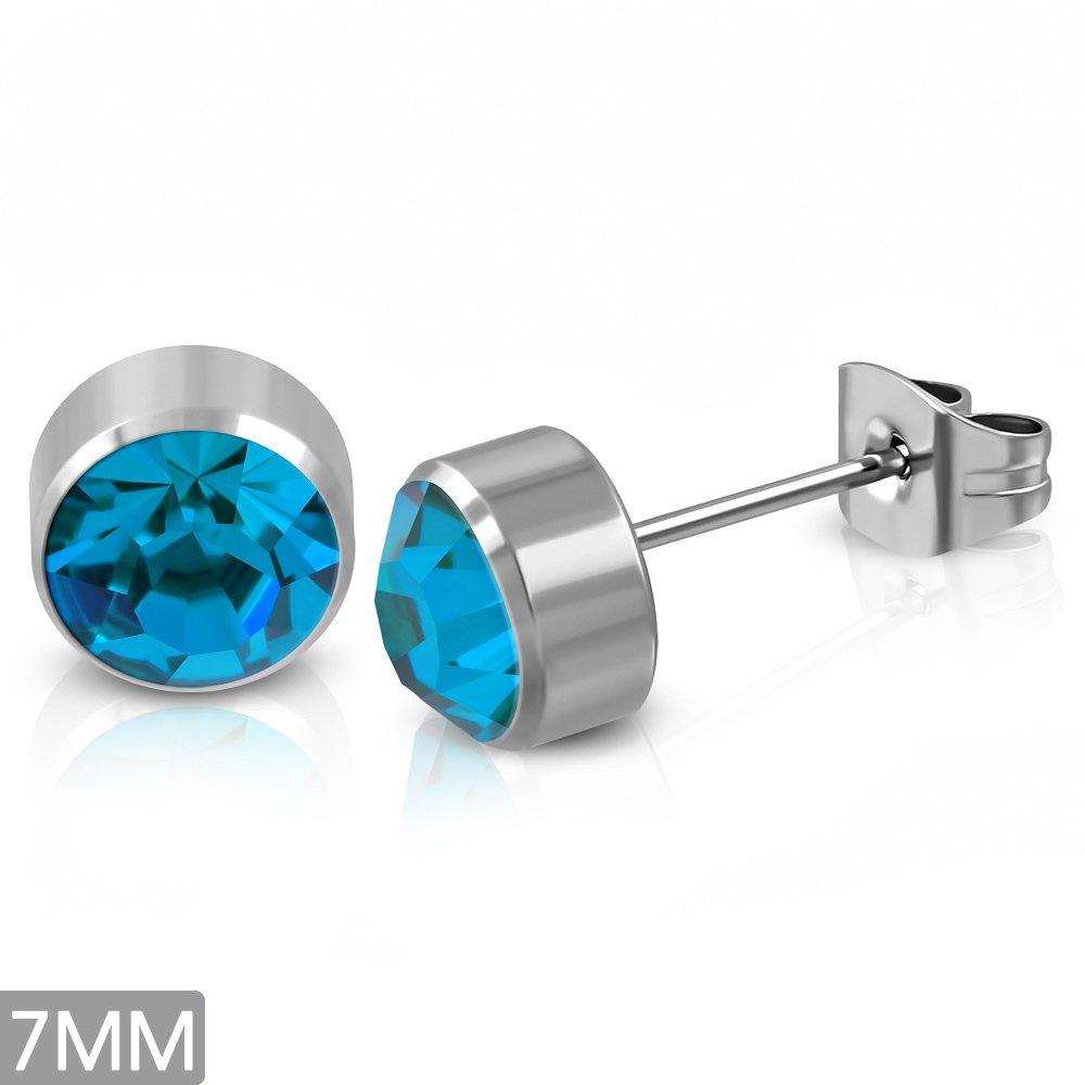 7mm Stainless Steel Bezel-Set Round Circle Stud Earrings w// Blue Zircon CZ pair - EBE130