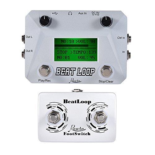 ammoon Rowin BEAT LOOP Loop Recording Guitar Effect Pedal Looper Max. 50min Recording Time + Rowin BeatLoop Dual Footswitch Foot Switch Pedal