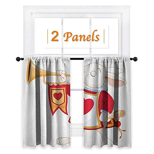 White Trumpet Glass Shade - maisi Alice in Wonderland, Thermal Insulating Blackout Curtain, Rabbit Playing Royal Trumpet with Heart Design Animal Card Kids, for Sliding Glass Door (W55 x L72 Inch) White Red Yellow