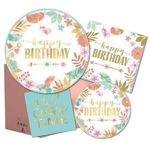 Pastel Boho Birthday Party Pack of Paper Plates & Napkins for 16 in Blue, Green, Pink, Peach & Gold Foil
