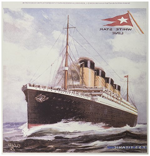 (3dRose ht_149236_1 Vintage White Star Line S.S. Titanic Iron on Heat Transfer, 8 by 8